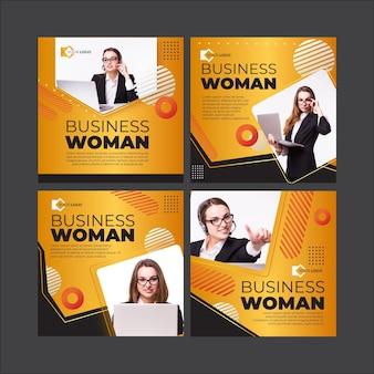 Modèle de publications instagram de femme d'affaires