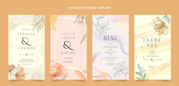 Modèle de publications instagram de mariage dessiné à la main