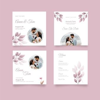 Modèle de publications instagram de mariage minimal