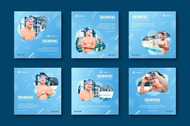 Modèle de publications instagram de natation
