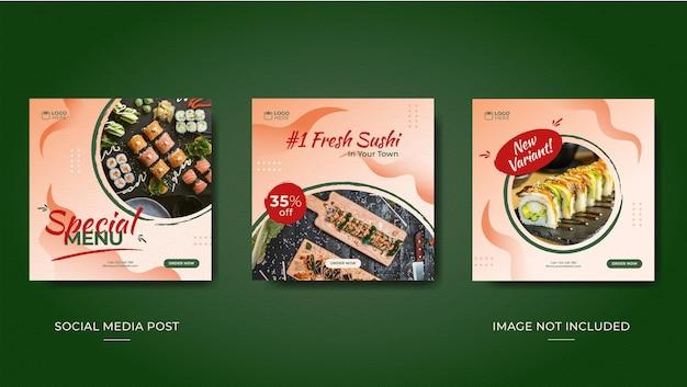 Modèle de publications instagram pour restaurant de sushis avec fond de vecteur de vague japonaise