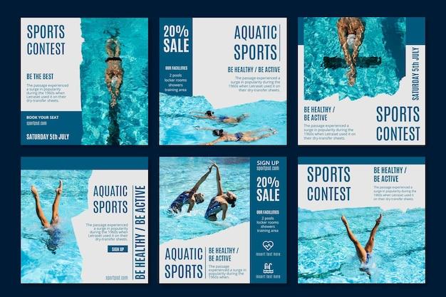 Modèle de publications instagram de sports aquatiques
