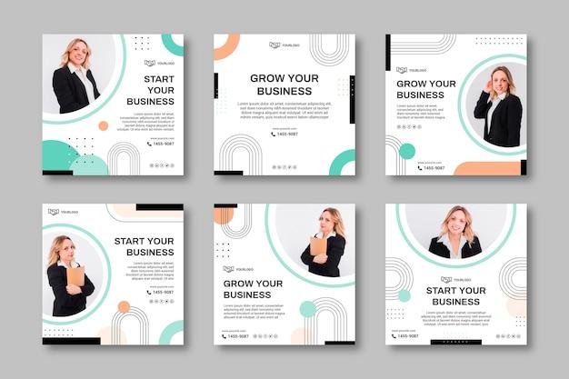 Modèle de publications sur les médias sociaux de femme d'affaires
