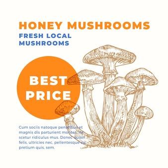 Modèle de publicité armillaria champignons au miel dessinés à la main