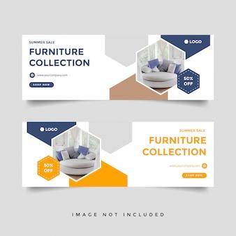 Modèle de publicité de bannière de couverture de vente de meubles facebook