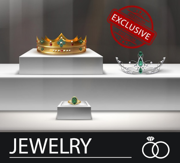 Modèle de publicité de bijoux réaliste avec couronne en or et bague diadème en argent avec illustration d'émeraudes et de perles
