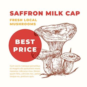 Modèle de publicité de bouchon de lait au safran. champignons dessinés à la main