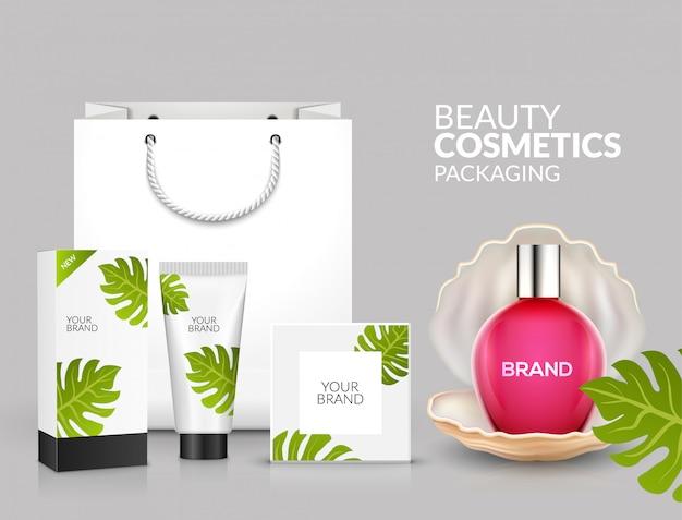 Modèle de publicité cosmétique tropicale de conception de paquet cosmétique tropical d'été. récipient et tube de promotion de produits d'emballage cosmétique