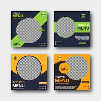 Modèle de publicité de ensemble de médias sociaux culinaires