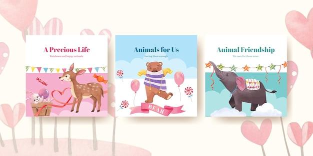 Modèle de publicité avec illustration aquarelle de concept animaux heureux