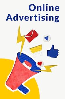 Modèle de publicité en ligne modifiable avec mégaphone pour les entreprises de commerce électronique