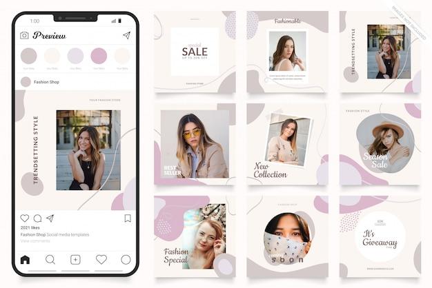 Modèle de publicité sur les médias sociaux pour les histoires instagram et la bannière facebook