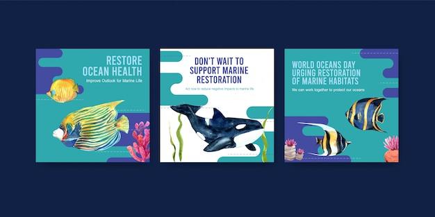 Modèle de publicité pour le concept de protection de l'environnement de la journée mondiale des océans avec des poissons, des coraux et des orques.