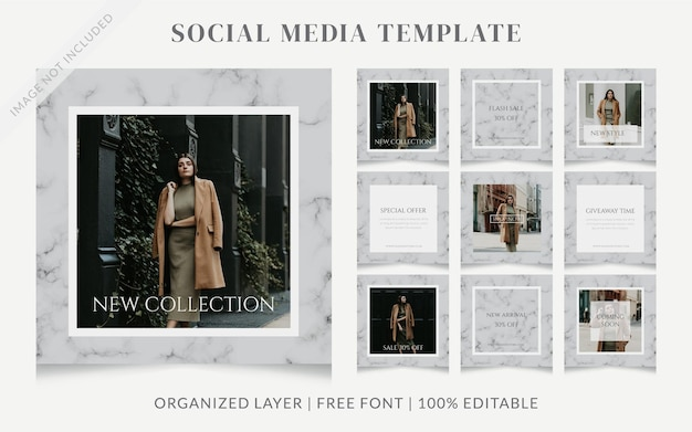 Modèle de publicité pour la promotion de la mode sur les médias sociaux instagram de la beauté féminine grise