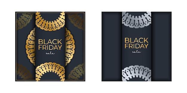 Modèle de publicité vendredi noir bleu marine avec ornements en or de luxe