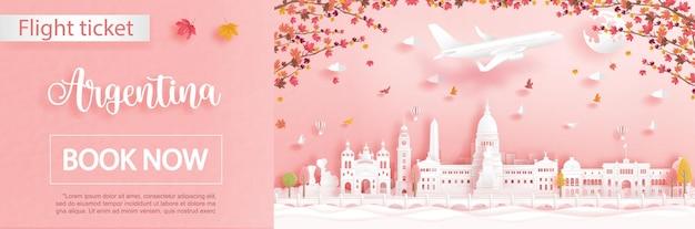Modèle de publicité de vol et de billet avec voyage à bueno aires, en argentine en saison d'automne avec la chute des feuilles d'érable et des monuments célèbres en papier découpé