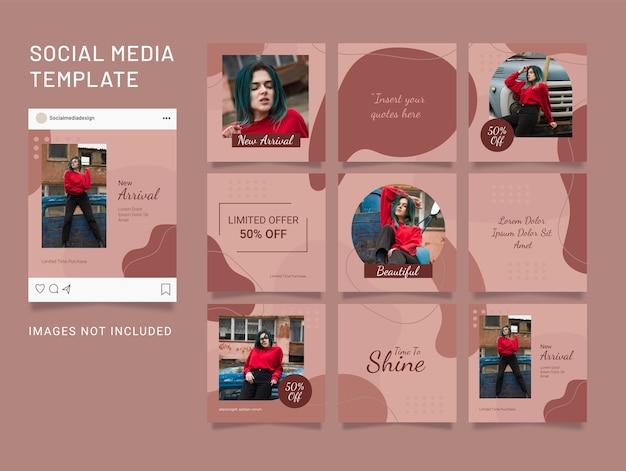 Modèle de puzzle instagram flux de médias sociaux