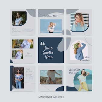 Modèle de puzzle de médias sociaux pour l'esthétique de la couleur bleue de la mode femme.
