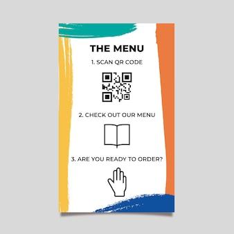 Modèle qr de menu coloré