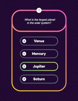 Modèle de question et réponses style néon pour l'examen de jeu de quiz émission de télévision test d'examen scolaire vecteur