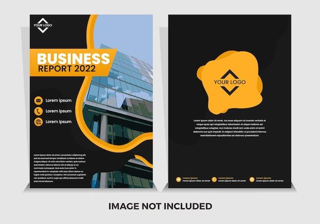 Modèle de rapport annuel abstrait noir et jaune premium de vecteur