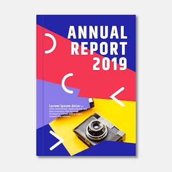 Modèle de rapport annuel et appareil photo rétro