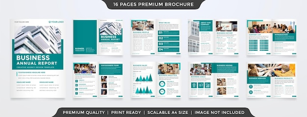 Modèle de rapport annuel d'entreprise de style propre avec un style premium