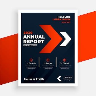 Modèle de rapport annuel de flyer d'affaires rouge et noir
