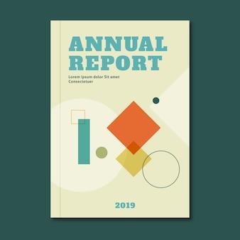 Modèle de rapport annuel avec des formes vintage minimalistes