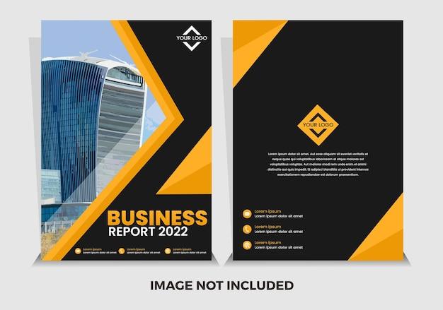 Modèle de rapport annuel moderne noir et jaune premium de vecteur