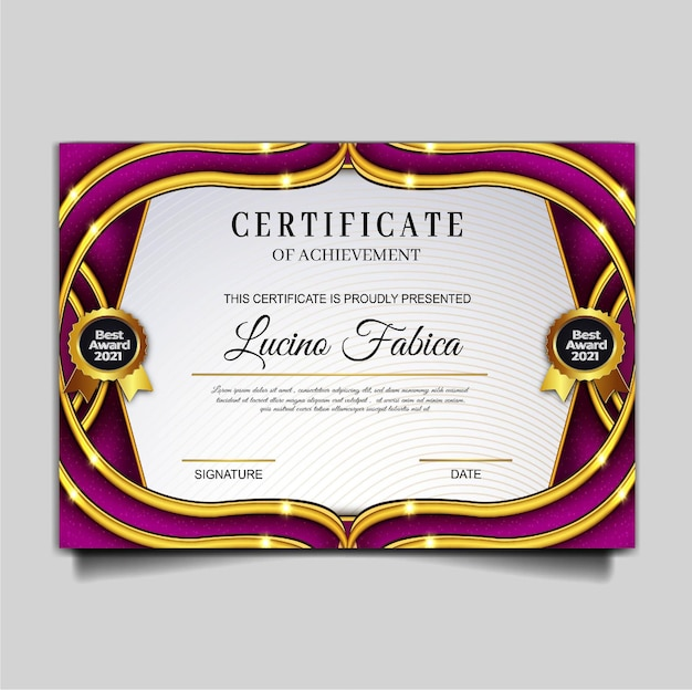 Modèle de réalisation de certificat élégant