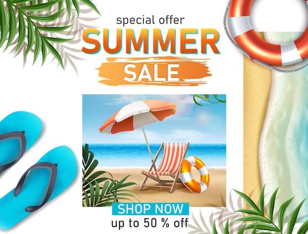 Modèle réaliste de bannière de vente d'été avec masque de plongée transat et mer