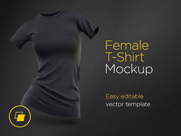 Modèle réaliste blanc t-shirt femme noire vêtements en coton