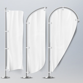 Modèle réaliste drapeaux blancs vierges