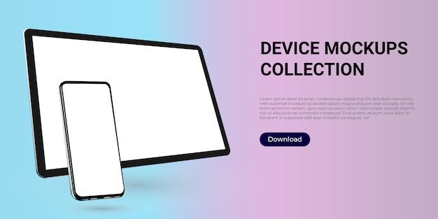 Modèle réaliste d'une tablette numérique et d'un smartphone