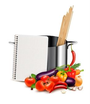 Modèle de recette. livre de cuisine, légumes et casserole.