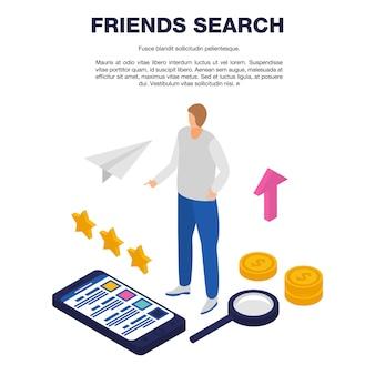 Modèle de recherche d'amis, style isométrique