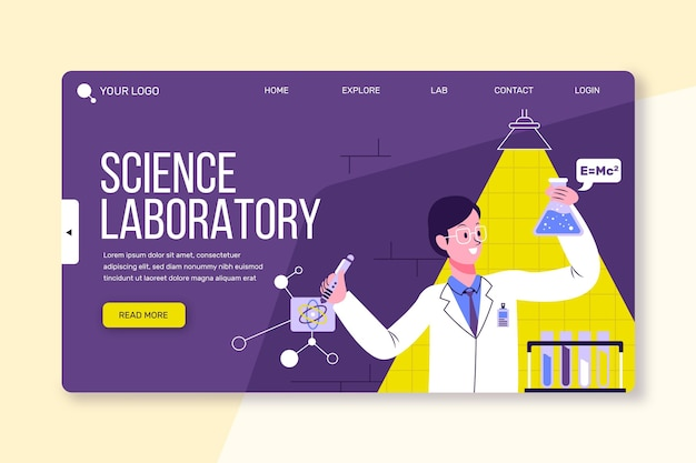 Modèle de recherche scientifique de page de destination