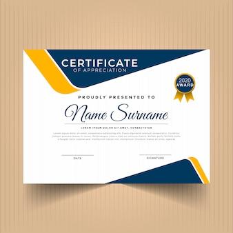 Modèle de récompense de certificat d'appréciation moderne