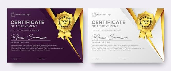 Modèle de récompense de certificat violet et blanc élégant