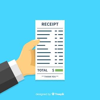 Modèle de reçu de paiement avec un design plat
