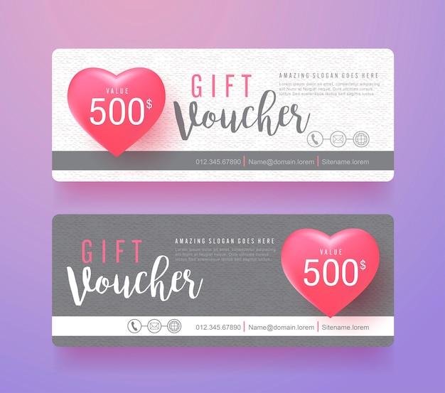 Modèle de réduction de bon cadeau avec fond de vente saint valentin