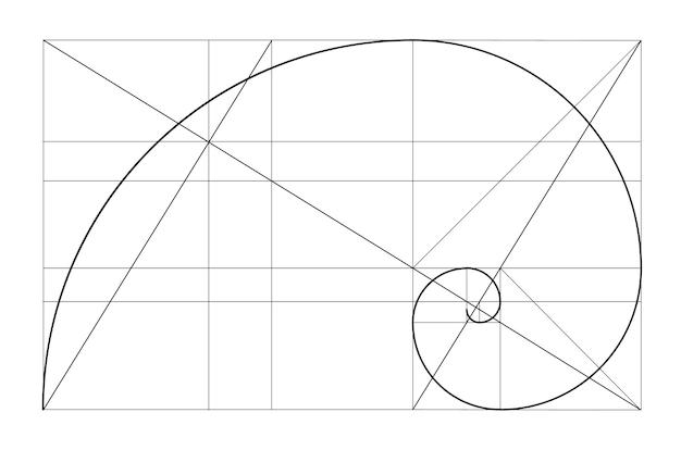 Modèle de relation d'or de vecteur spirale d'or rapport d'or tableau de fibonacci nombre de fibonacci divi...