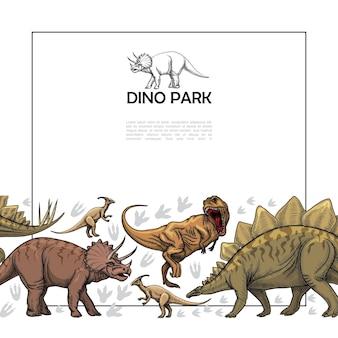 Modèle de reptiles préhistoriques dessinés à la main avec cadre pour texte féroce t-rex parasaurolophus triceratops stegosaurus dinosaures illustration,