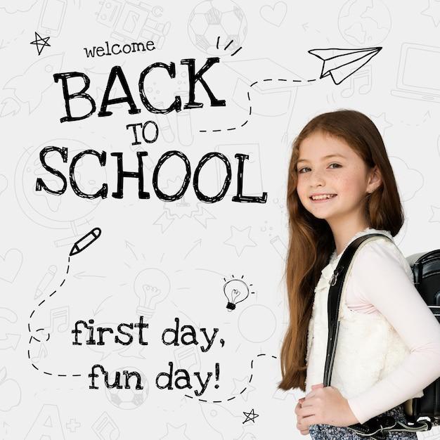Modèle de retour à l'école avec un étudiant mignon