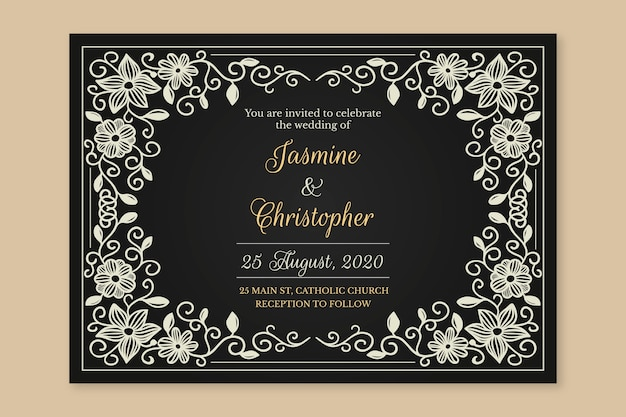 Modèle rétro invitation de mariage