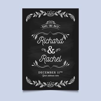 Modèle rétro d'invitation de mariage