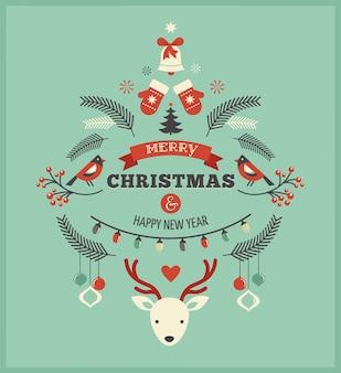 Modèle rétro joyeux noël et bonne année avec plusieurs icônes et symboles de vacances.