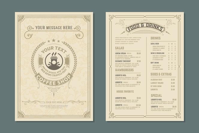 modèle rétro pour la conception de menus de restaurant