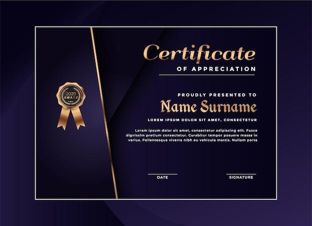 Modèle de réussite de certificat de luxe
